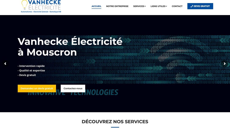Vanhecke Électricité référence plein écran